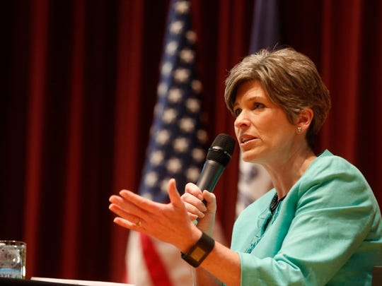 Sen. Joni Ernst answers questions Friday, March 17, 2017, during her Polk Count town hall meeting in Sheslow Auditorium at Drake Universtiy.