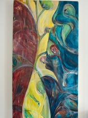 A painting by Heidi Dodge is on display Thursday, June