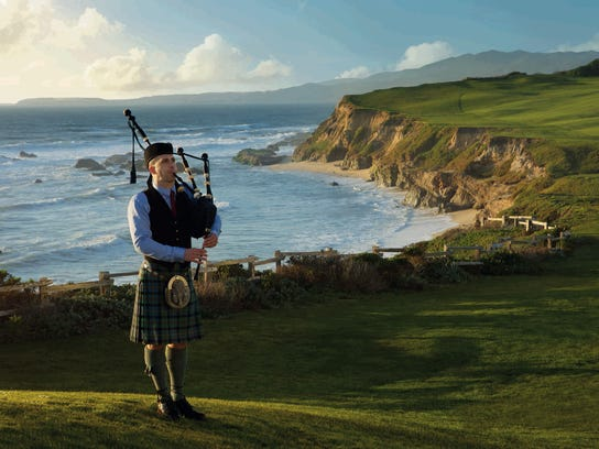 Scottish bagpiper at Half Moon Bay