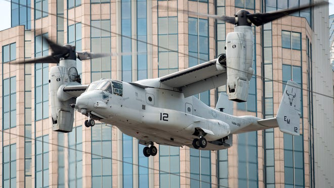 A Marine Corps MV-22 Osprey approaches to land outside of the Ascend Amphitheater, Tuesday, Sept. 6, 2016, in Nashville, Tenn. The Marine Corps aircraft were arriving in advance of Marine Week, and will be on display during the week,