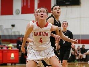 One of the keys to Canton's offense is the outside shooting of junior forward Erin Hult, shown during a 2014-15 contest.