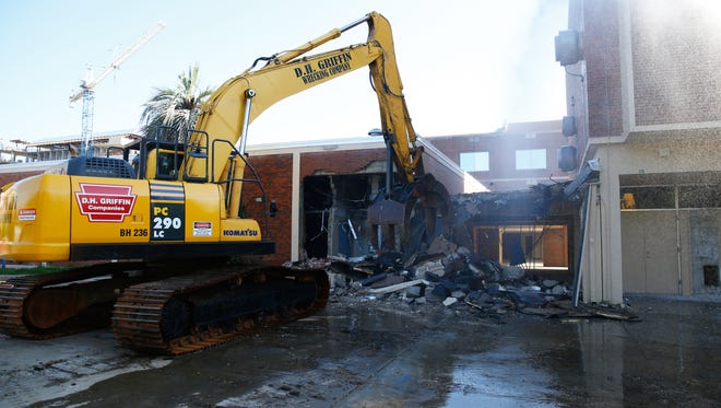 Construction crews began the demolition of the Oglesby Student Union at Florida State University on Wednesday. The construction of a new union is scheduled to be completed by Fall 2020.