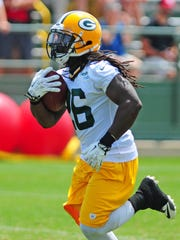 Green Bay Packers running back DuJuan Harris during minicamp practice at Ray Nitschke Field, Tuesday, June 17, 2014.