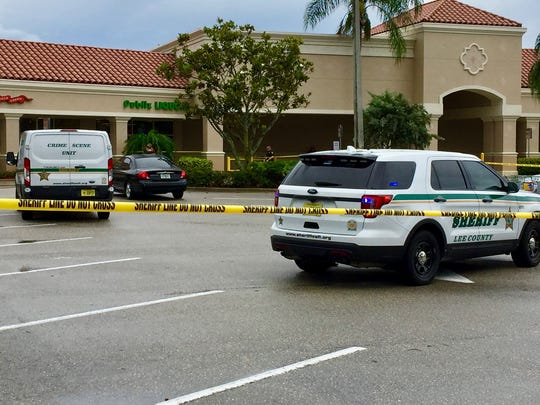 Authorities were investigating a car parked in a shopping plaza on the northwest corner of U.S. 41 and Corkscrew Road in Estero on June 14, 2017.