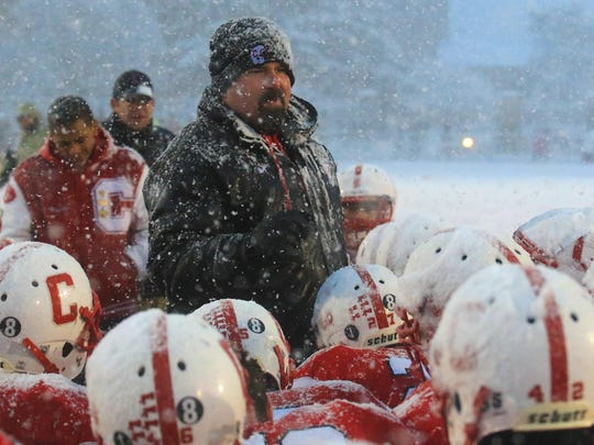 After Saturday's heartbreaking loss in the Division 1 semifinal, Canton head coach Tim Baechler tells his players how proud he was of them for the way they played in 2015.