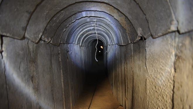 A view of a tunnel reportedly dug by Palestinians beneath the border between the Gaza Strip and Israel and recently uncovered by Israeli troops.