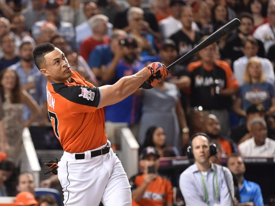 Giancarlo Stanton is eliminated from the Home Run Derby in the first round.