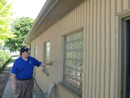 Novi City Councilman Dave Staudt checks out the aging administration building at the city's Lakeshore Park in this file photo leading up to last fall's capital improvements millage.