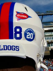 A photo a decal honors Louisiana Tech RB Jaqwis Dancy