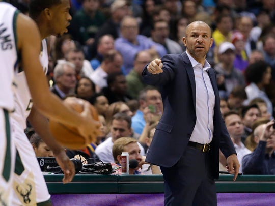 Milwaukee Bucks head coach Jason Kidd gestures to his players during the first half against the Golden State Warriors in Milwaukee.