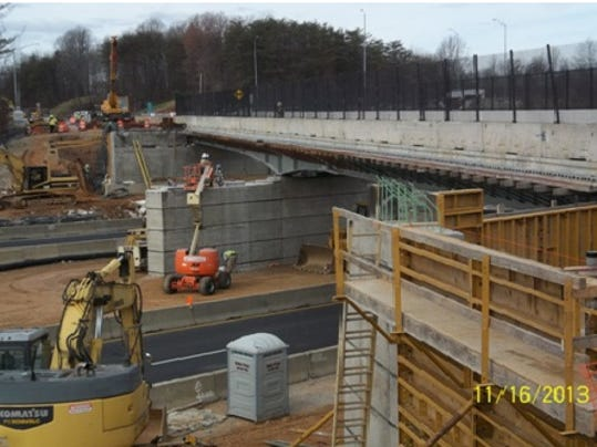Crews work on building the Middletown Road bridge in northern Baltimore County. It is a $5.4 million project. Traffic will be detoured Monday and Tuesday night so that crews can install steel beams. (SUBMITTED)