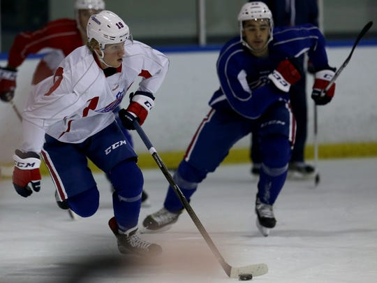 No. 1 pick Alex Nylander at Amerks practice last season. He's vying for spot with Sabres but likely to open with Rochester again.