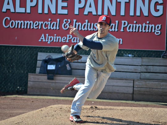 Joe Testa works out for the Somerset Patriots at open tryouts in 2014.