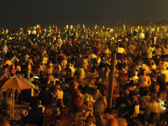 In 2006, thousands of people crowded the beach for the annual Rehoboth fireworks display.