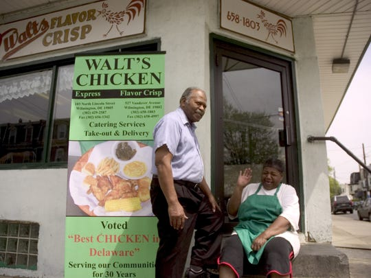 In 2008, Harry Sheppard, owner of Walt's Flavor Crisp, posed outside of his Wilmington shop that was known for serving some of the best fried chicken in Delaware. He laughed with cook Barbara Bullock of New Castle who worked  at Walt's for 30 years. Sheppard died in 2011. The shop was demolished in 2015 to make way for townhouses.