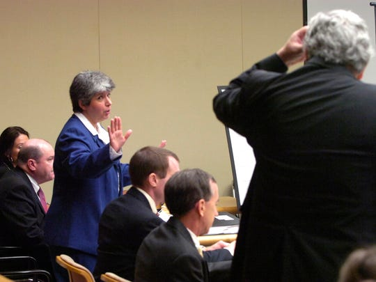 Thursday, September 20 2007  Knox County Deputy Law Director Mary Ann Stackhouse, standing left,  gestures towards Knoxville attorney Herbert S. Moncier, right, while debating motions on September 20, 2007 in Knox County Chancery Court where the News Sentinel's lawsuit over alleged violations of the Tennessee Open Meetings Act continues. Also pictured from left are Caroline E. H. Sudlow, C.L.A., Knox County Law Director John Owings, News Sentinel attorney David Hollow and News Sentinel editor Jack McElroy.