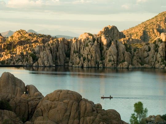 The rugged Granite Dells surround Watson Lake just