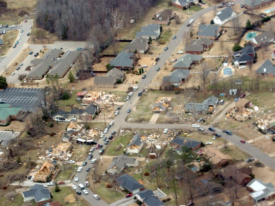 Homes of North Jackson litter the streets following a storm that left a 35 mile path of destruction Wednesday, Feb. 6, 2008 in Jackson, Tennessee.