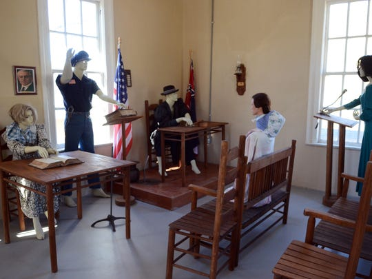 The inside of the court has been fitted with mannequins and historically accurate furniture at Sumrall's historic municipal courthouse and jail.
