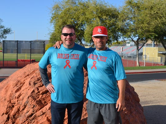 Boulder Creek softball coach Jeremy Lord (left) with