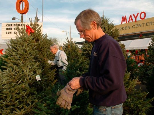 Mayo Garden Center employee Andrew Edmunds, right, puts his gloves on to move a Christmas tree while customer Carl Motley searches for a tree for his house to entertain his children and grandchildren on Christmas day while shopping at the center on Kingston Pike in 2004.