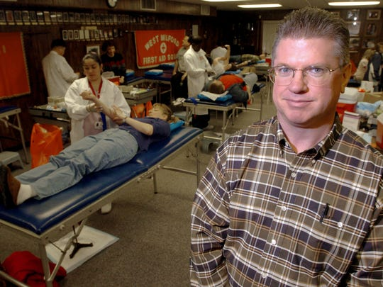 Jim Gilligan had been leading the monthly blood drives in West Milford for the past five years when this photo was taken in March 2005.