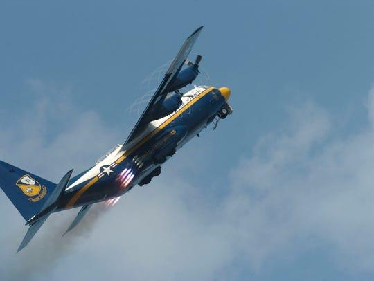 "The U.S. Navy Blue Angels ""Fat Albert"" C-130 transport plane."