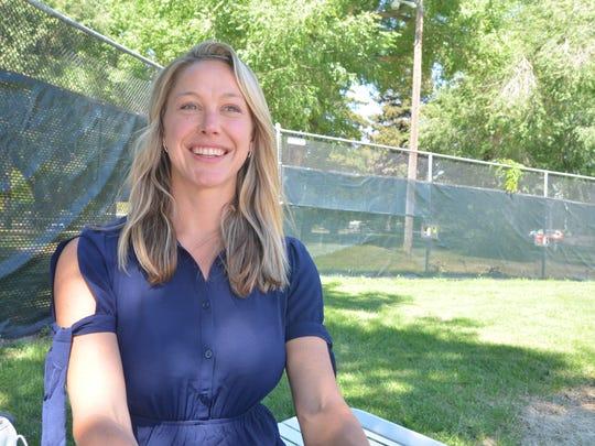 Lindsey Dal Porto at a community pool where she is a member. Reno, NV