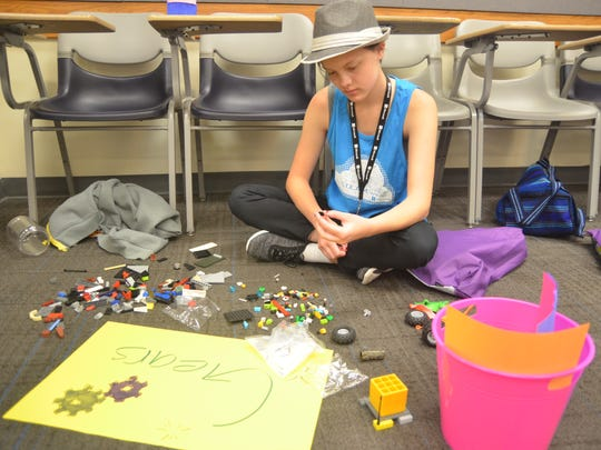 A participant making robot at the DigiGirlz- a tech camp for young women (July 19-20) to encourage them in STEAM (Science Technology Engineering Arts Mathematics). Reno NV