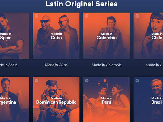 A preview of Spotify's Latin Hub page.