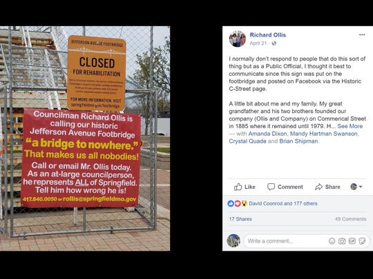 Over the weekend, someone posted a sign on the Jefferson Avenue Footbridge targeting Councilman Richard Ollis. Ollis responded on social media.