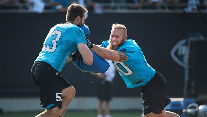 Former Clemson linebacker Ben Boulware practices during opening night of Carolina Panthers training camp at Wofford College in Spartanburg on Wednesday, July 26, 2017.