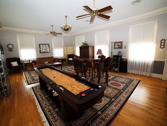 The game room has old world appeal.