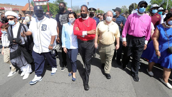 Gov. Gretchen Whitmer, pastor of Greater Grace Temple Charles H.Ellis and mayor Mike Duggan were among those who against police brutality Thursday, June 4, 2020 in Detroit Michigan. The leaders represented churches, temples and mosques from around the Detroit area.