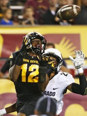 ASU receiver Tim White catches a 38-yard touchdown pass against Colorado on Oct. 10, 2015 in Tempe.