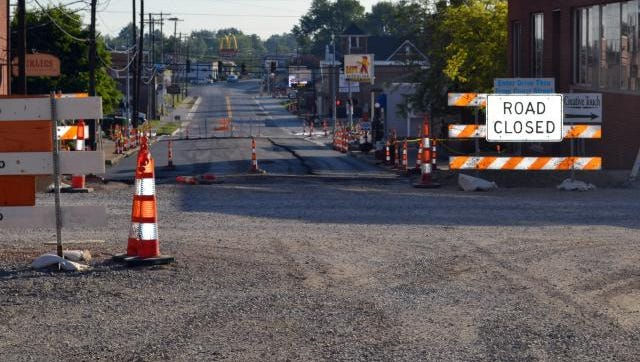 Pictured above is a photo of the sewer separation project in Morganfield-Works is ahead of  schedule  and some of the paving and sidewalks has been completed.