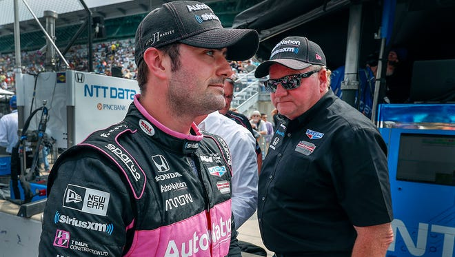 Team owner Rik Peterson congratulates Jack Harvey after qualifications. Meyer Shank Racing with SPM IndyCar driver Jack Harvey (60) during Pole Day at the Indianapolis Motor Speedway on Sunday, May 20, 2018. for the Indianapolis 500.