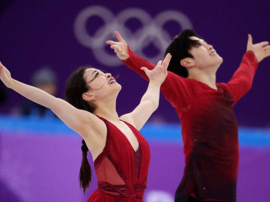 Alex Shibutani and Maia Shibutani of the United States perform in the ice dance free dance figure skating Team Event in the Gangneung Ice Arena at the 2018 Winter Olympics in Gangneung, South Korea.