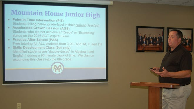 Mountain Home Jr. High School Principal Ron Czanstkowski talk to board members about resources available to students. The results for the writing section of the ACT Aspire was the lowest of all other subjects.