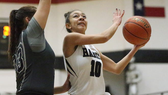 Kierra Robinson 10, of Hanks goes up  for a shot against Horizon Tuesday night.