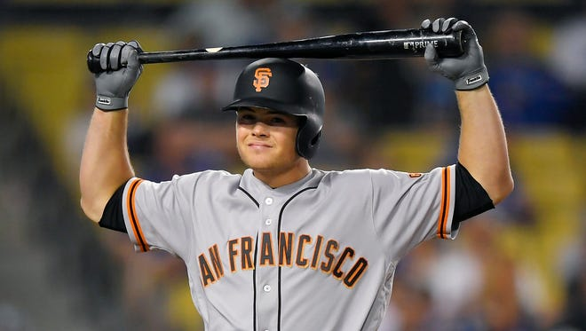 San Francisco Giants' Christian Arroyo reacts after striking out during the tenth inning of a baseball game against the Los Angeles Dodgers, Wednesday, May 3, 2017, in Los Angeles. (AP Photo/Mark J. Terrill)