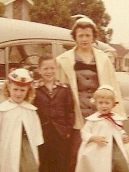 "The Cooksey family lived near Cameron Park in Waco, the neighborhood where several of Chip and Joanna Gaines ""Fixer Upper"" episodes are set, from 1957 until 1960.  This Easter 1960 photo, posed in front of the family's 1950 gray Oldsmobile, shows Bennie Cooksey and her three children, Candace, Eric and Billie."