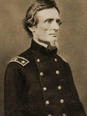 The only known photo of Jefferson Davis in uniform, taken when he was a major general of Mississippi troops, just before the start of the war. The uniform is a Federal Army uniform.