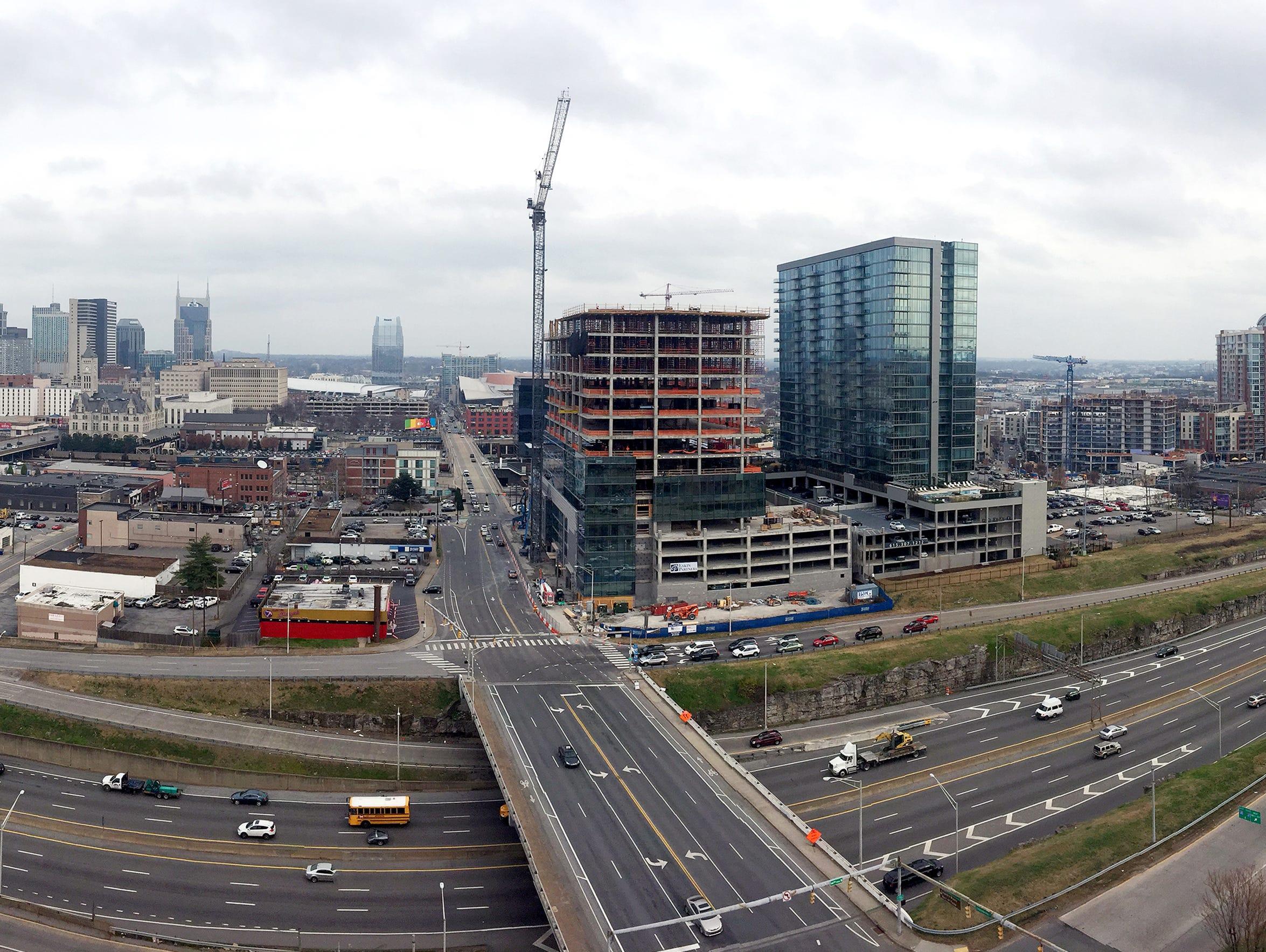 A panoramic view of Nashville looking down Demonbreun