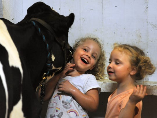 Sisters Lilly and Libby Knicely, both 5, play with