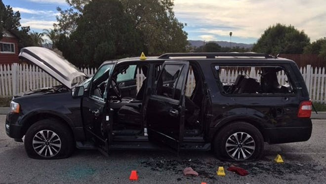 This image obtained from the San Bernardino County Sheriff, shows the vehicle used by the suspects in the December 2, 2015, mass shooting during a holiday party at the Inland Regional Cente.