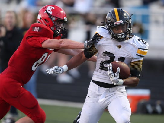 Southeast Polk Rams Gavin Williams is pushed out of