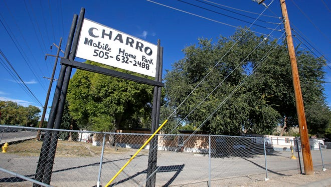 The front entrance of the Charro Mobile Home Park is seen Thursday in Bloomfield.
