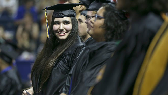 A graduate from Angelo State University gets ready to walk the stage in May 2017. Virtual graduation ceremonies are planned for August 2020.