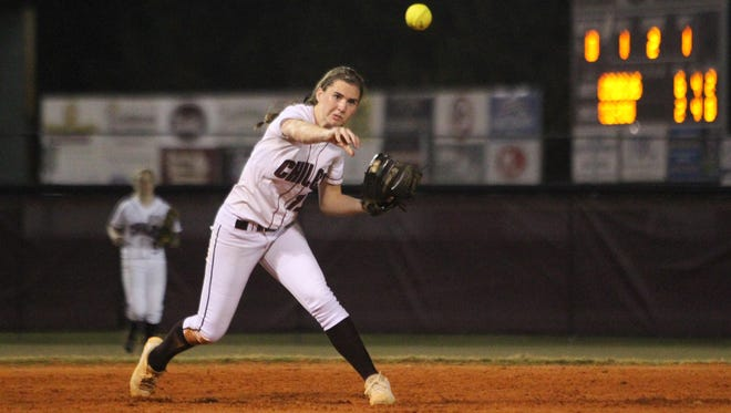 Chiles junior Caroline Jacobsen, a Duke commit, fires from shortstop for an out. Jacobsen went 3 for 3 and hit a 3-run home run in the Timberwolves' 14-4 win over Godby on Tuesday night.